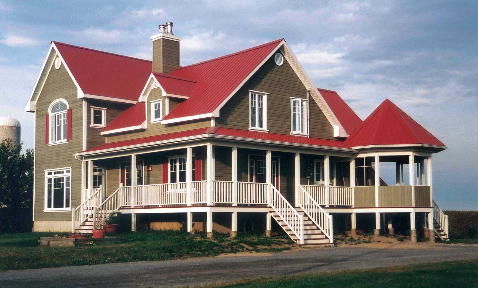 red metal roof houses
